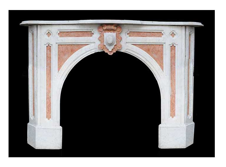 Rouge & White Marble Half Mantel, with Arched Opening