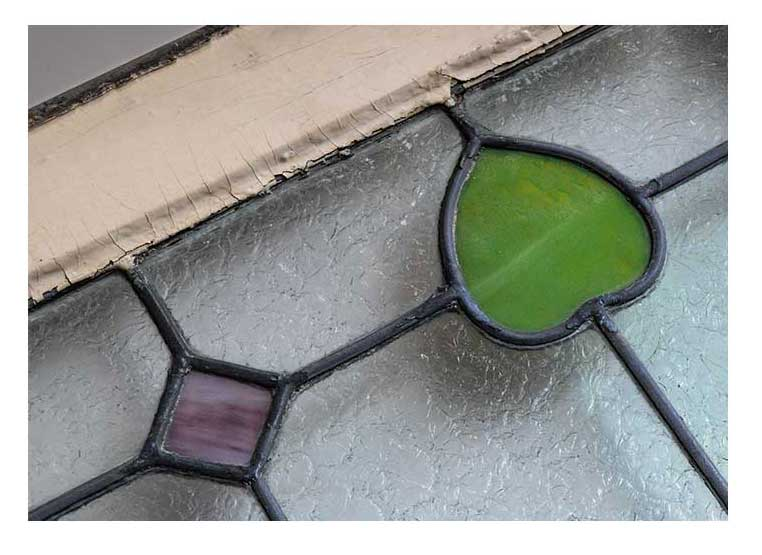 Clear, Textured Glass Windows, with Stained Glass Details