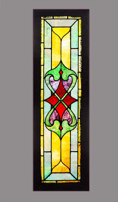Stained Glass Window, with Symmetrical Emblem