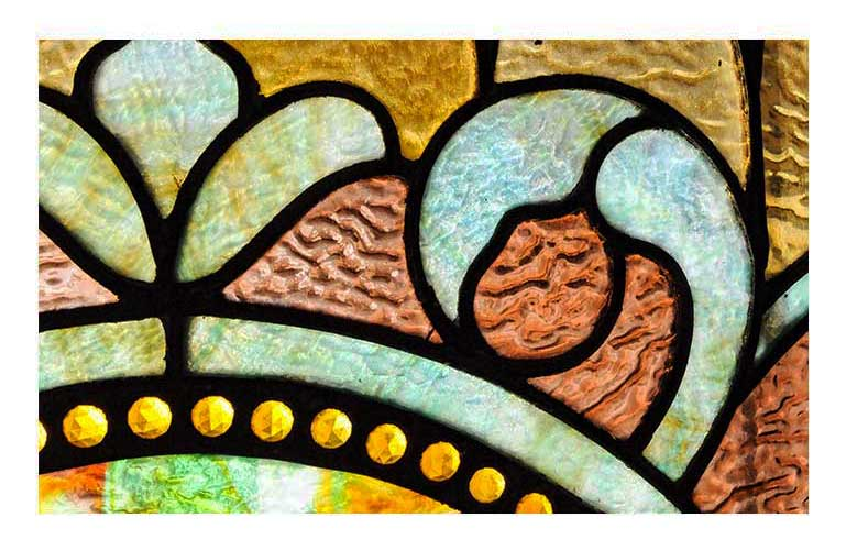 Stained Glass Transom Window, with Jewel-Cut Accents