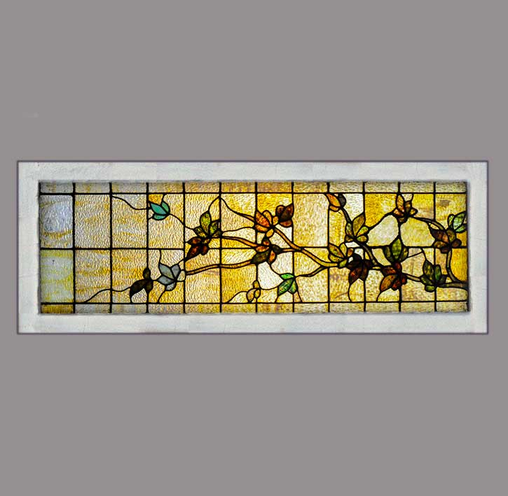 Floral Stained Glass Transom Window Wooden Nickel Antiques