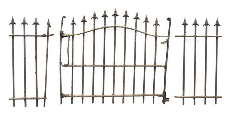 47-Foot Iron Fence, with Gate & Two Posts