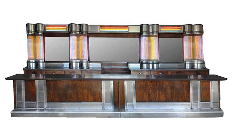 Art Deco Back & Front Bar, with Stainless Steel, Glass Rods & Neon