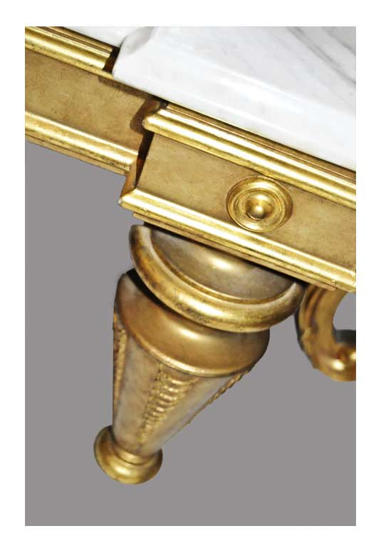 Large Gilded Pier Mirror, with Marble Shelf