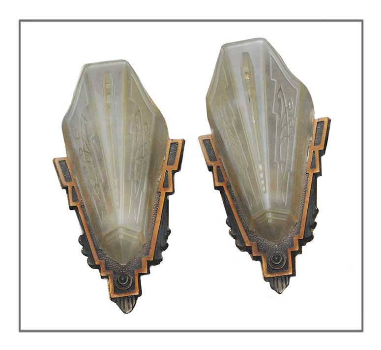 Pair of Art Deco Slipper Sconces, with Wood Bases & Glass Shades