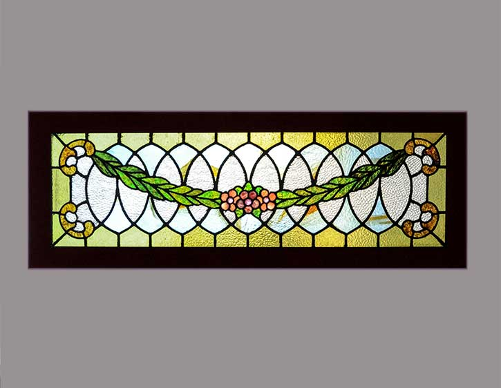 Transom Window, with Center Flower and Garland