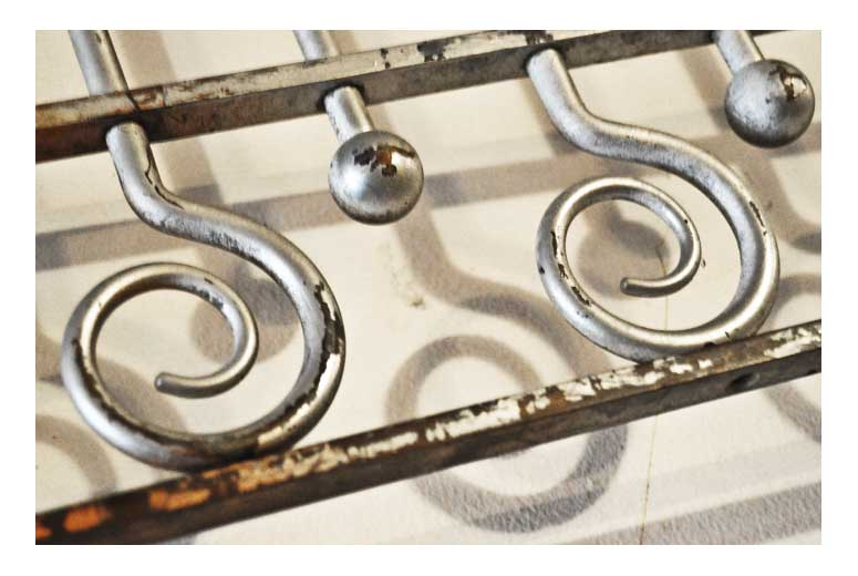 Multi-toned Iron Grill, with Loops & Scrolls