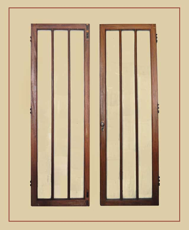 Pair of Mahogany French Doors, with Vertical Glass Windows