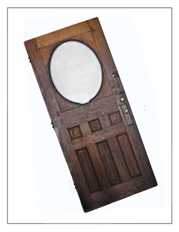 Unfinished Wood Door, with Oval Glass Window