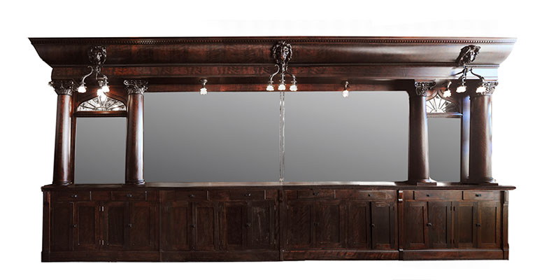 "Now Here! 24-Foot Mahogany Brunswick ""San Leon"" Back Bar"