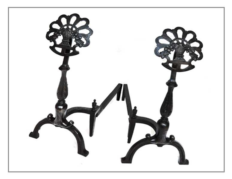 Very Cool Pair of Flower-Top Andirons