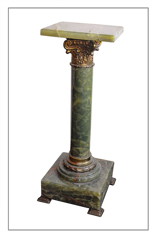 Green Onyx Pedestal, with Brass Detail