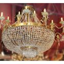 Stunning Empire-Style Brass & Crystal Chandelier