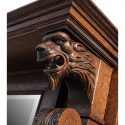Carved Oak Full Mantel, with Beveled Mirror & Lion Heads