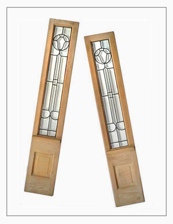 Pair of Beveled Glass Sidelight Panels, with Floral Motif