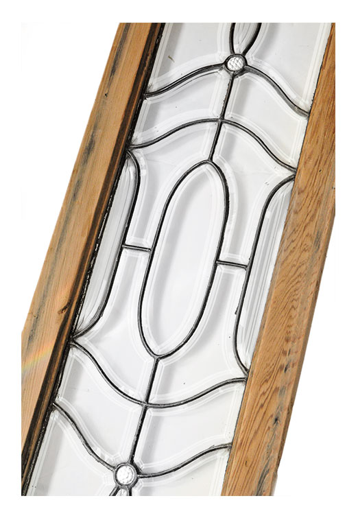 Pair of Beveled Glass Sidelight Panels, with Geometrical Patterns