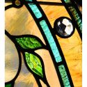 Custom Stained Glass Window, with Birds, Flowers & Jewel Cuts