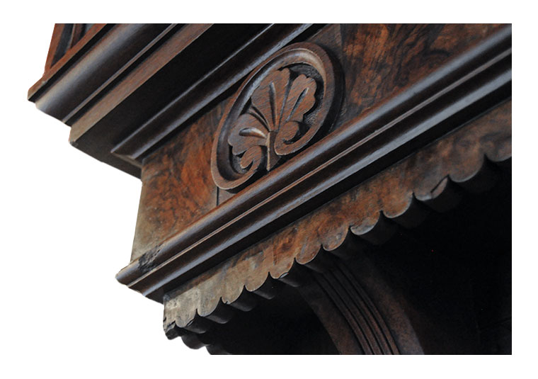 Deeply Carved Walnut Hall Tree, with Large Mirror