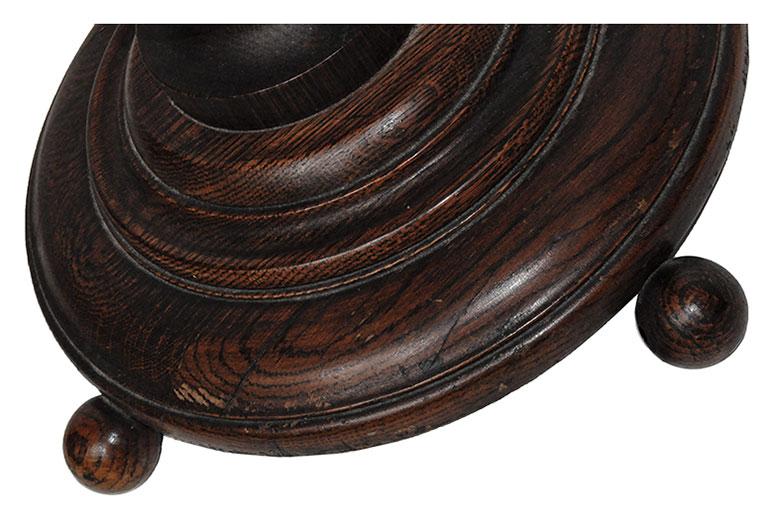 Carved Oak Pedestal, with Corkscrew Column