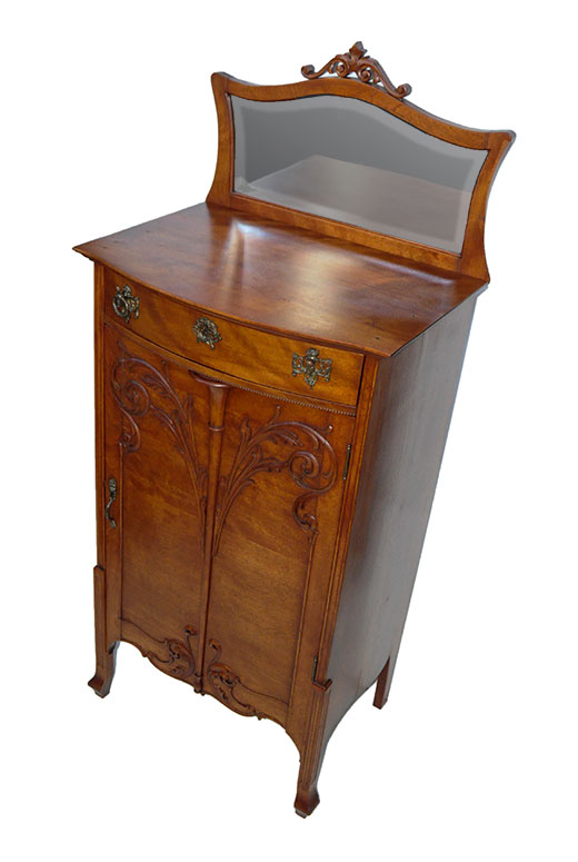 Small Carved Mahogany Music Cabinet, with Beveled Mirror