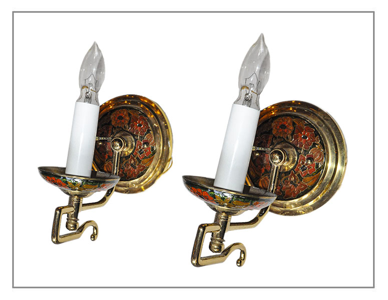 Pair of Painted, Single-Armed Sconces