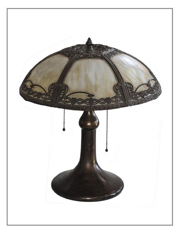 1910 Bent-Glass Panel Tabletop Lamp