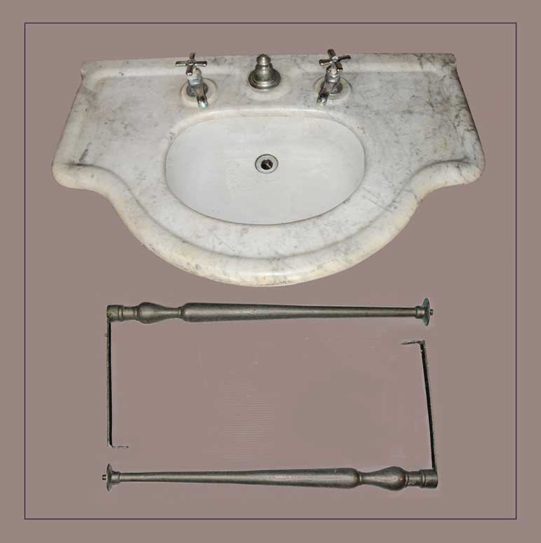 Marble-China Sink Fixture, with Metal Legs