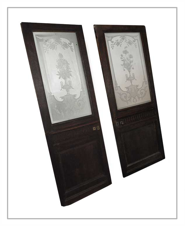 Pair of Mirrored Glass Doors, with Stenciled Artwork