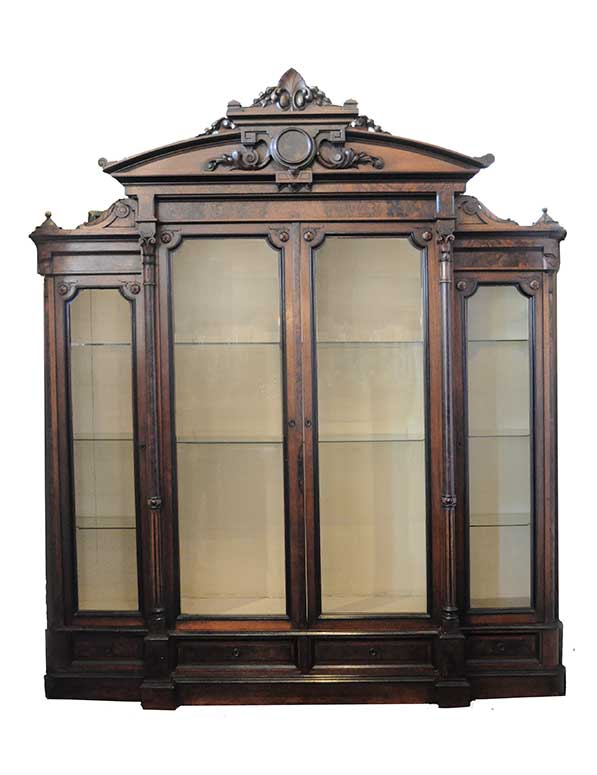 Four-Door, Walnut Bookcase, with Carved Trim