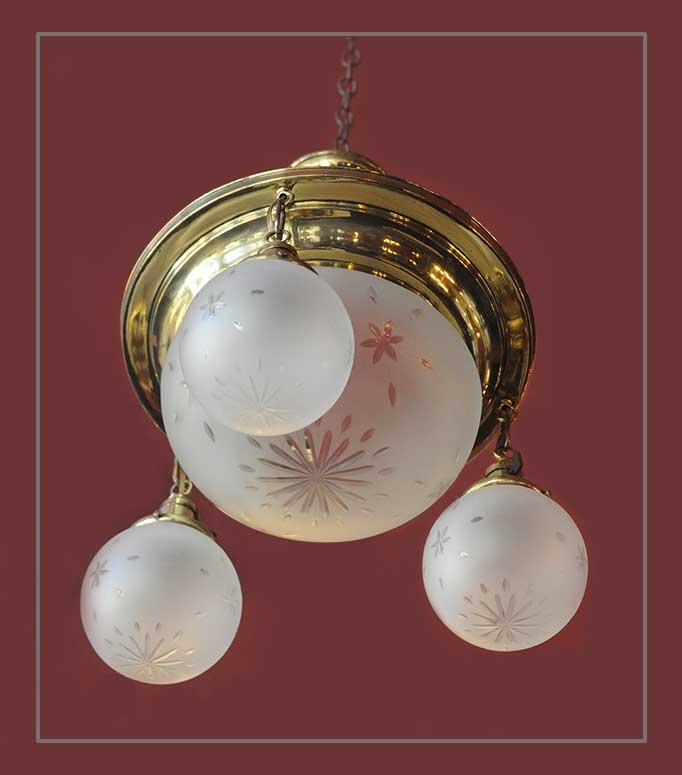 Brass Light, with Wheel-Cut Glass Globes