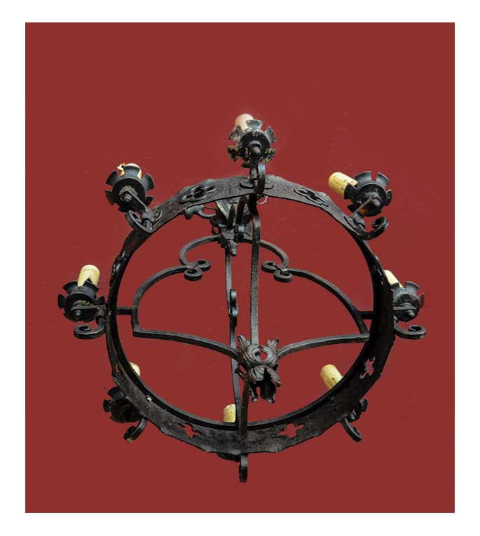 Large, Cast-Iron Ring Chandelier