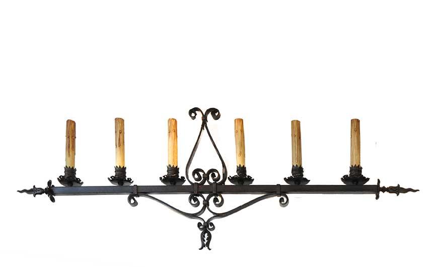Large, Six-Armed Iron Tudor Light Bar