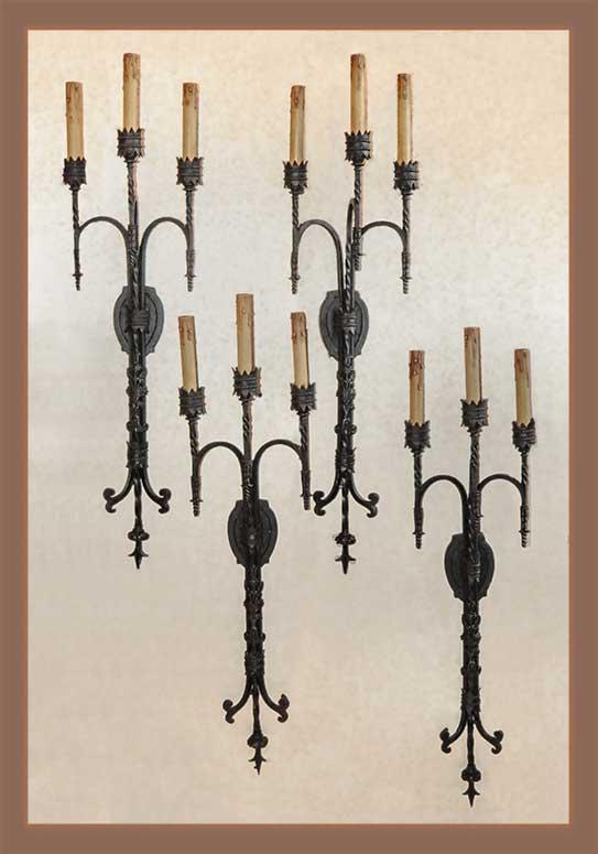 Four-Piece Set of Iron Tudor Sconces