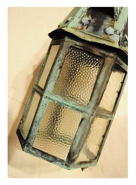 Metal Exterior Sconce, with Pebbled Glass Panes