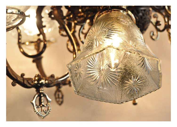Eight-Light Brass Chandelier, with Frosted Shades