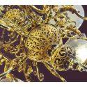 Ten-Light Brass Chandelier, with Vienna Shades
