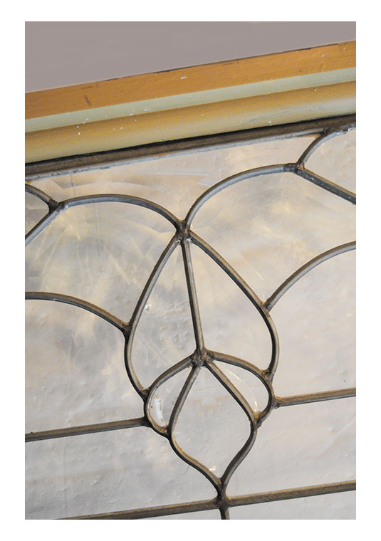 Clear, Beveled Glass Transom, with Floral Design