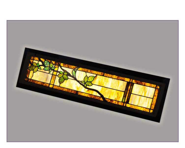 Stained Glass Transom Window, with Vine & Leaves