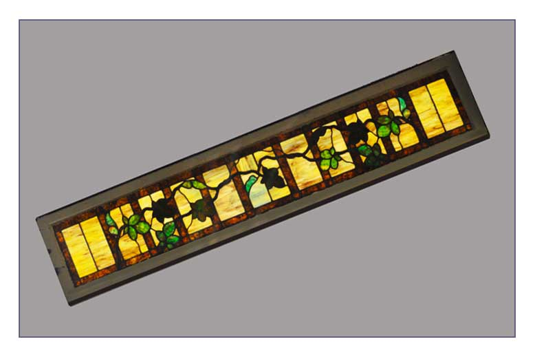 Extra Narrow Stained Glass Transom, with Vines & Leaves