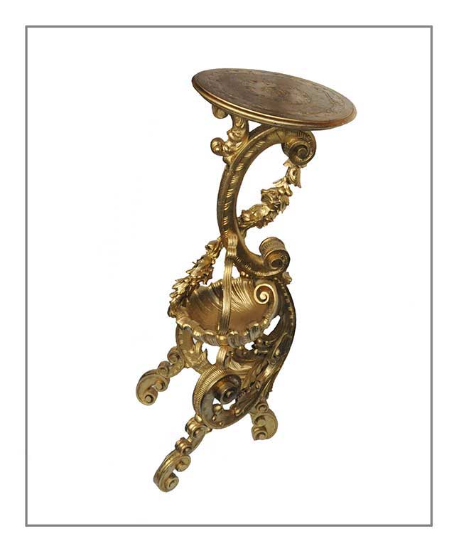 Gold-Painted Carved Wood Pedestal