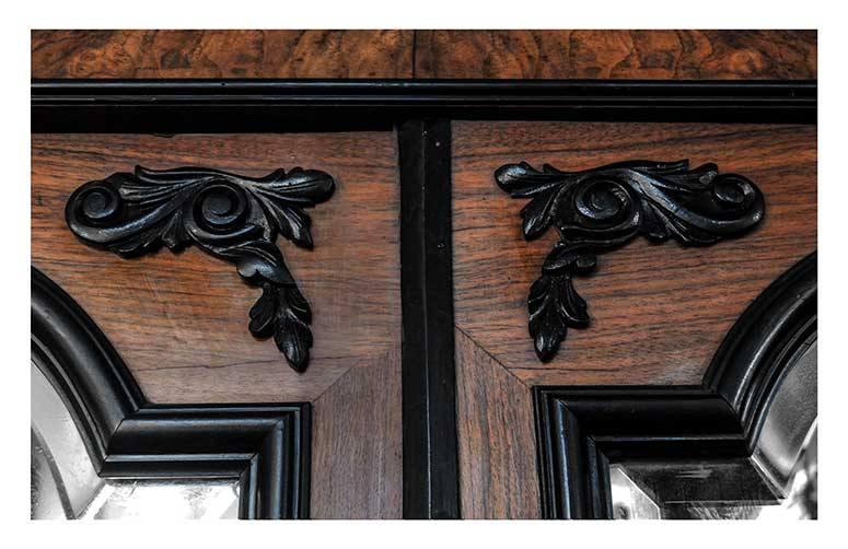 Two-Door French Wardrobe, with Double Mirrors & Ebonized Accents