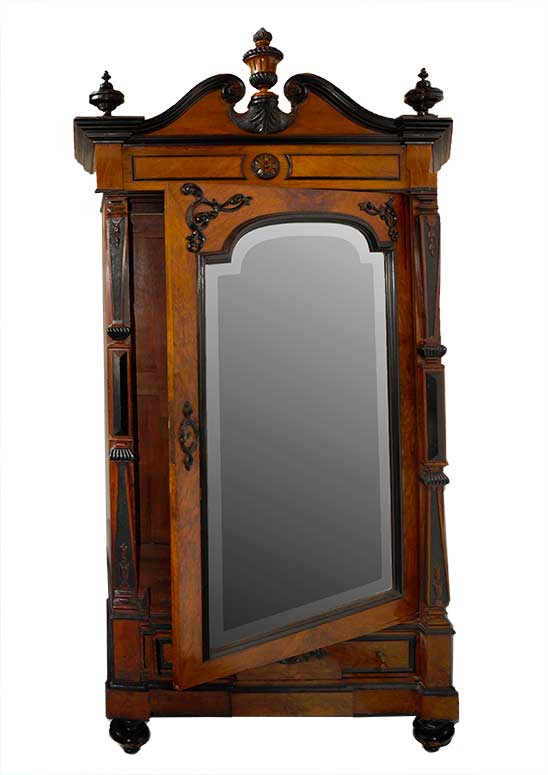 Ornate Single-Door French Wardrobe, with Large Mirror