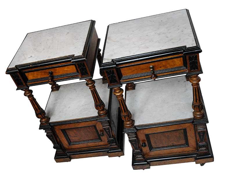 Pair of Small, Marble-Top Night Stands