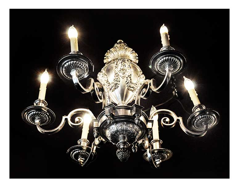 Six-Armed Silver Chandelier