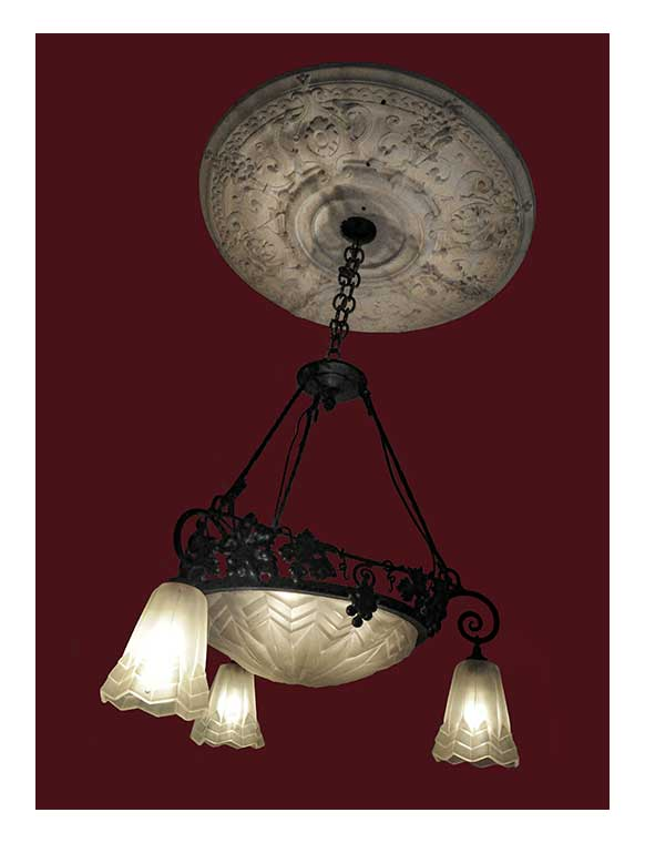 Three-Armed French Cast Glass Light, with Center Bowl