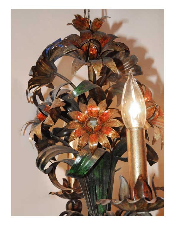 Six-Armed, Metal Flower Candelabra