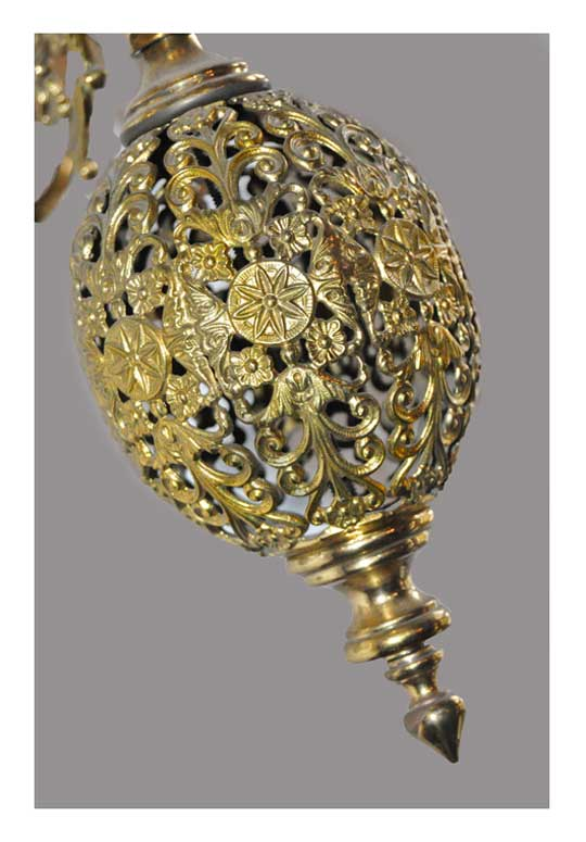 Four-Armed Electric Filigree Light, with Antique Shades