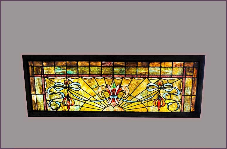 Large Stained Glass Transom Window, with Fleur-de-Lis Center