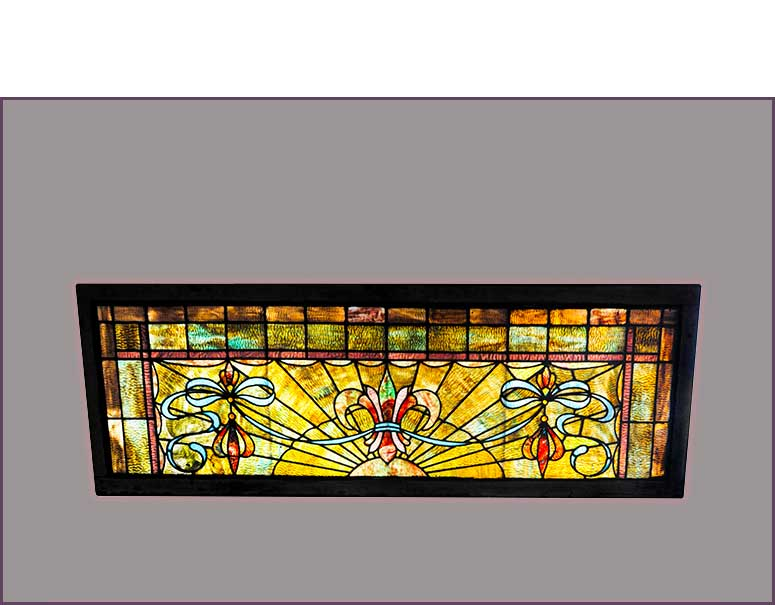 Large Stained Glass Transom Window With Fleur De Lis