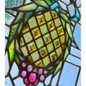 Artful Stained Glass Window, with Clear Background